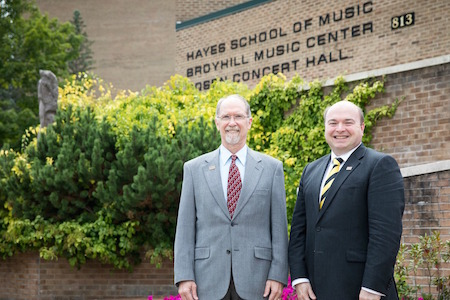Victor Mansure, Coordinator of Graduate Studies, with James Douthit, Dean of the Hayes School of Music